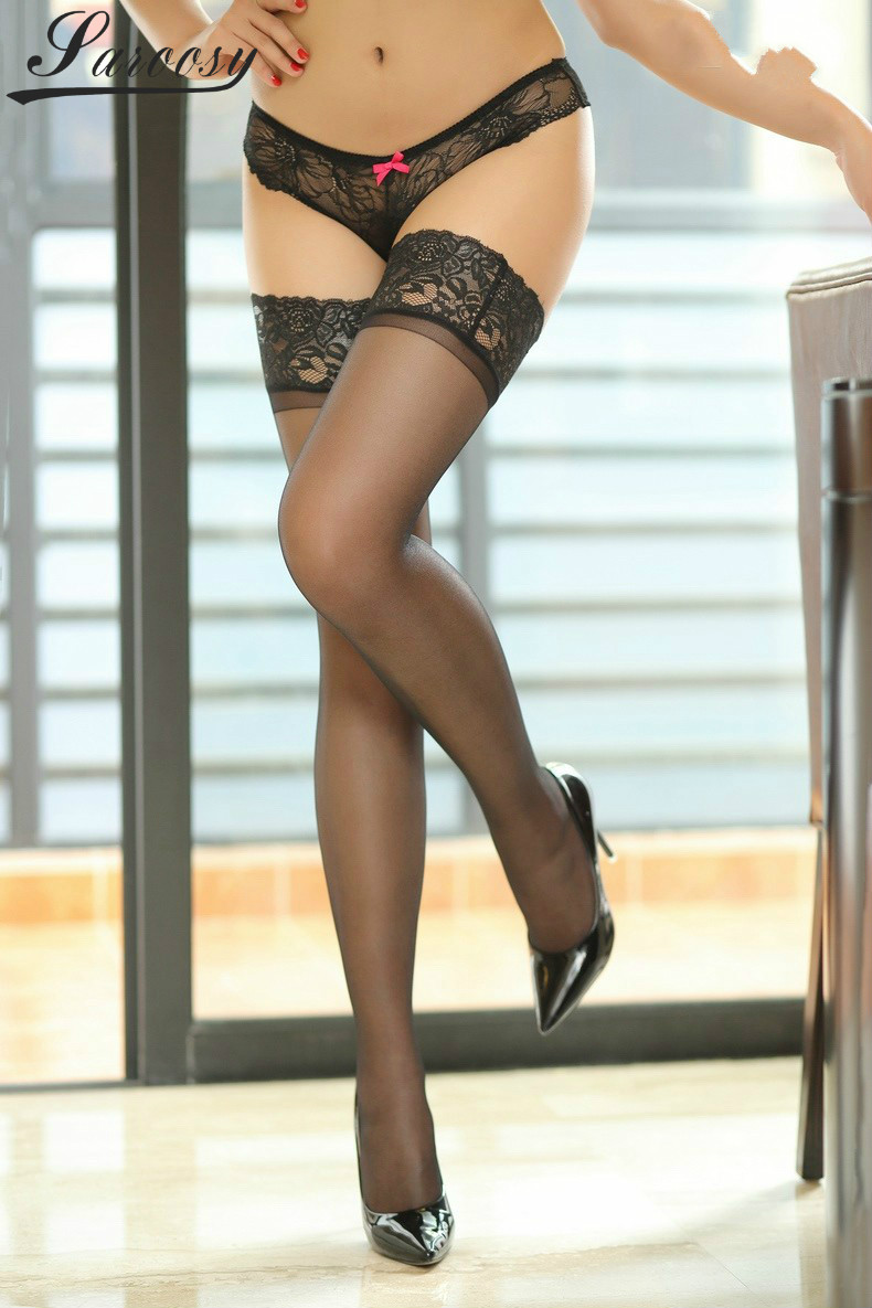 New Oil Shine Stockings For WOmen Silicon Under Lace Top Keep Thigh-high Up Free Size Elastic Ultrathin 12 Deniers