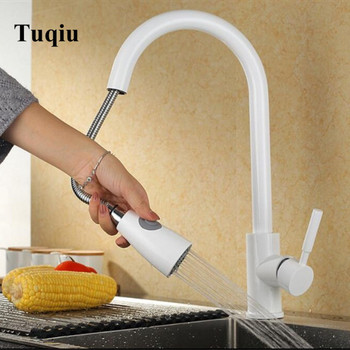 Pull Out Sprayer Kitchen Faucet White Deck Mounted 360 Degree Luxury White Hot and Cold Stream Water Mixer Bathroom Tap Sink