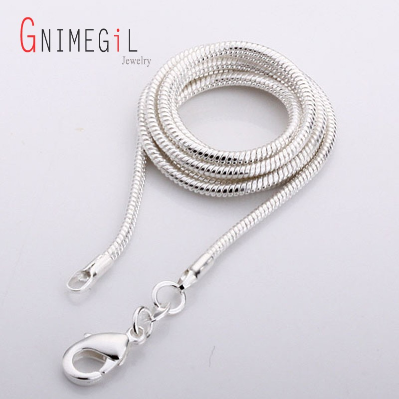 """WHOLESALE Silver Plated Men//Women SNAKE CHAIN NECKLACE 16/""""-24/"""" 1mm 2mm Finding"""