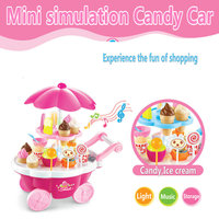 2016 New Mini Plastic Simulation Candy Handcart Toys Pretend Play Kitchen Set Food Toys Kids Gift