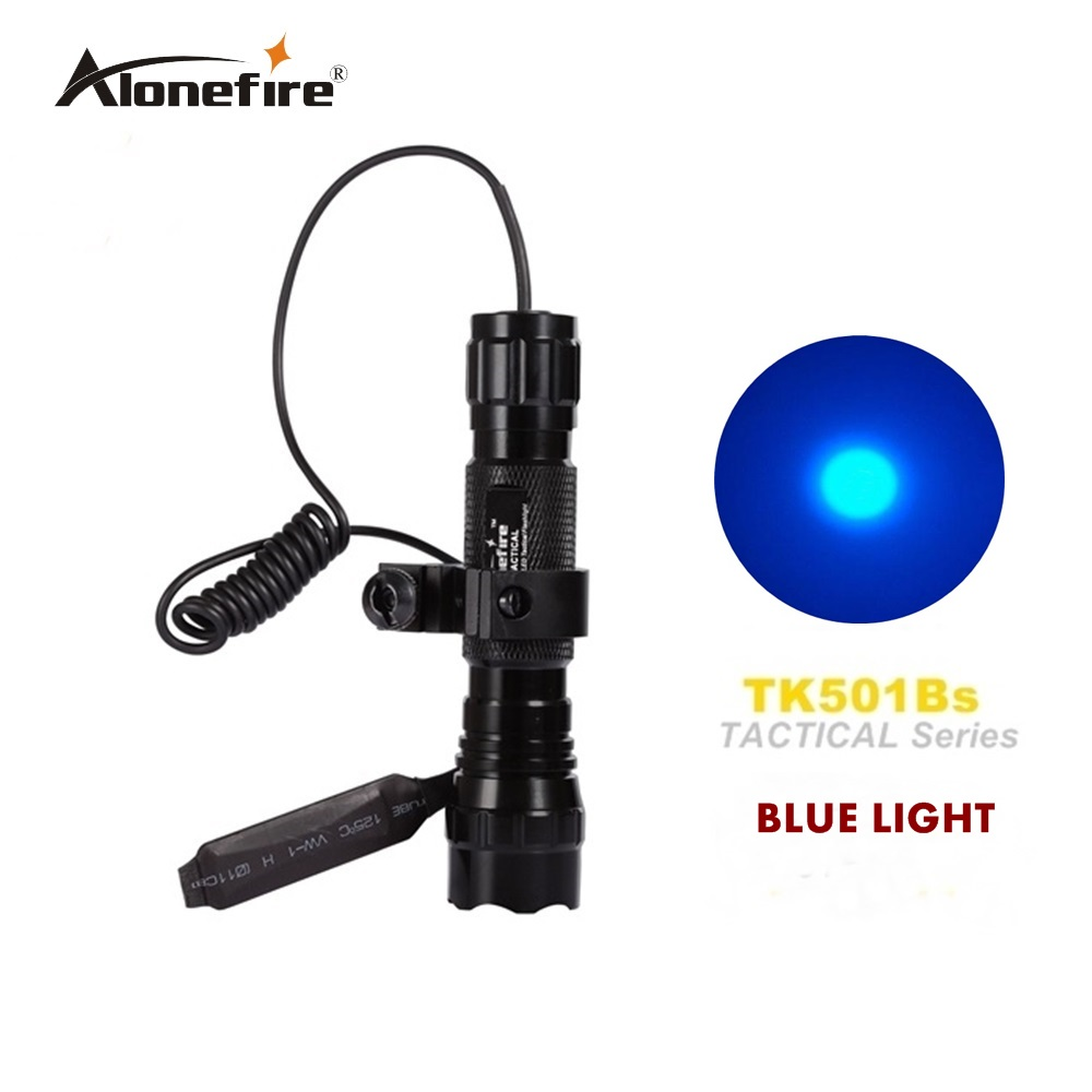 501B led blue light tactical Flashlight Hunting Rifle Torch Shotgun lighting+Tactical mount+Remote switch led tactical flashlight 501b cree xm l2 t6 torch hunting rifle light led night light lighting 18650 battery charger box