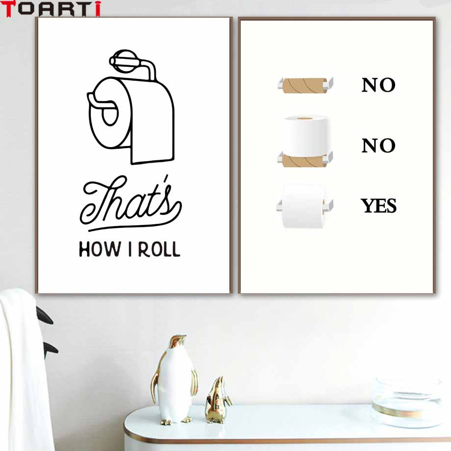 Toilet Tissue Modern Poster&Prints Creative Canvas Painting For Washroom Modular Wall Picture For Restroom Wall Art Home Decor