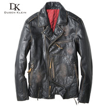 Dusen Klein leather coats Men Genuine cow leather Motorcycle Casual slim Spring Outerwear leather Jacket Black 61U8181