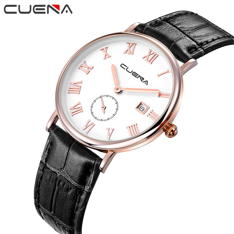 CUENA Men Quartz Watch Fashion Mens Watches Top Brand Luxury Genuine Leather Waterproof Man Wristwatches Relogio Masculino Clock men fashion quartz watch mans full steel sports watches top brand luxury cuena relogio masculino wristwatches 6801g clock