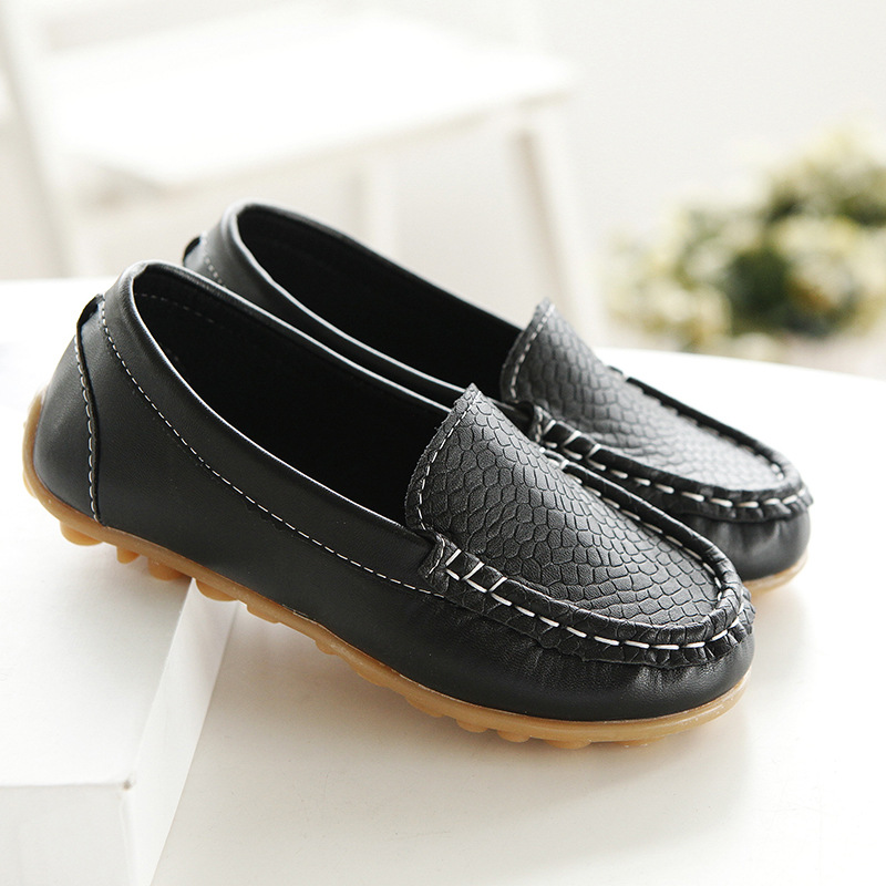 Kids Boys Slip On PU Leather Flat Loafers Casual Breathable Soft Boat Shoes Size