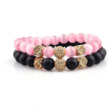 Fashion 2PCS/Set Couple His Hers 8mm Stone Bead CZ Crown Bracelet Men Charm Strand Handmade Wristband Jewelry Gifts