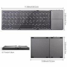 VOBERRY Wireless Bluetooth Keyboard Folding three-segment Split Mini Keyboard And Touch