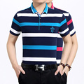 New design men's summer fashion contrast colors stripes cotton polo shirt