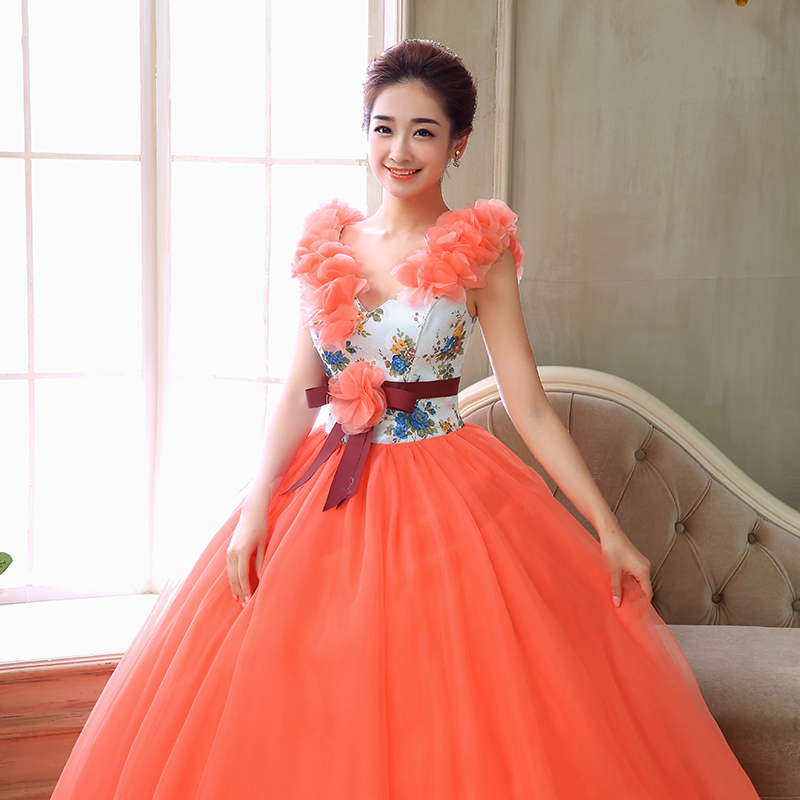 New Fashioned Ball Gowns V Neck Girls Party Gowns Tulle Lace Beaded Orange Quinceanera Dresses Vestido de debutante-in Quinceanera Dresses from Weddings & Events    3