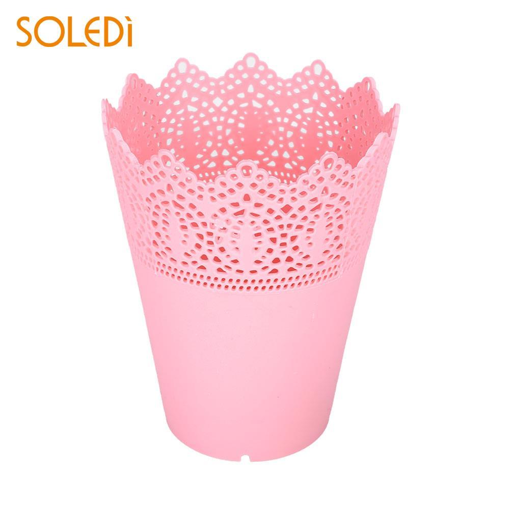 Ручка Контейнер цветочные горшки макияж кисти пластиковый держатель для хранения розовый/белый/синий/фиолетовый красивый стол аккуратный держатель экономичный - Цвет: Pink