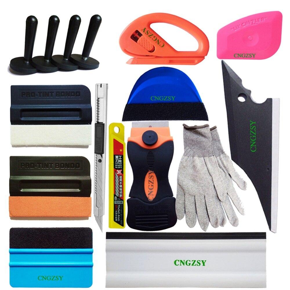 Auto couleur changement fenêtre grattoir Wrap teinte vinyle Film daim laine aimant raclette nettoyage Kit d'outils accessoires voiture style K77