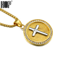 HIP Trendy Gold Plated Stainless Steel Paved CZ Round Shape Cross Pendants Necklaces For Men Jewelry