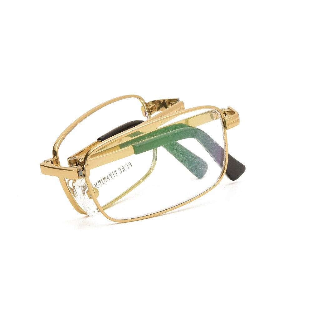 Складные очки для чтения из чистого титана, мужские очки с хрустальными камнями, Золотые очки, оправа для мужчин