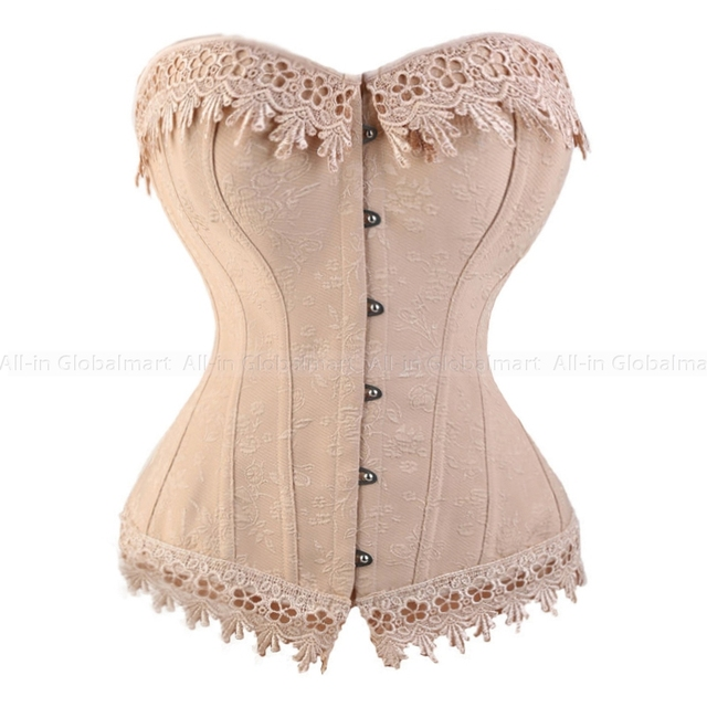 Lace Up Waist Trainer Corset Embroidery Corset Top Bustiers Overbust Corselet Gothic Outwear Burlesque Costumes Plus Size TYQ