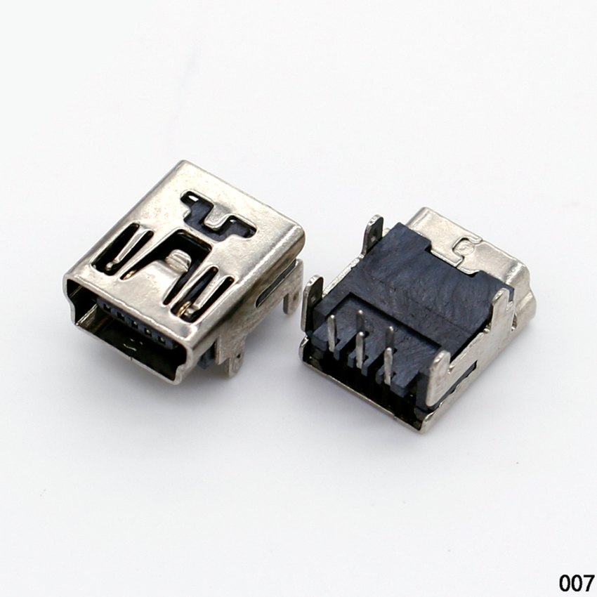 1X DIY MIni USB B 5 pins female jack 90 degree plane connector socket interface Welding plug For Phone mp3 mp4 Tablet ect.