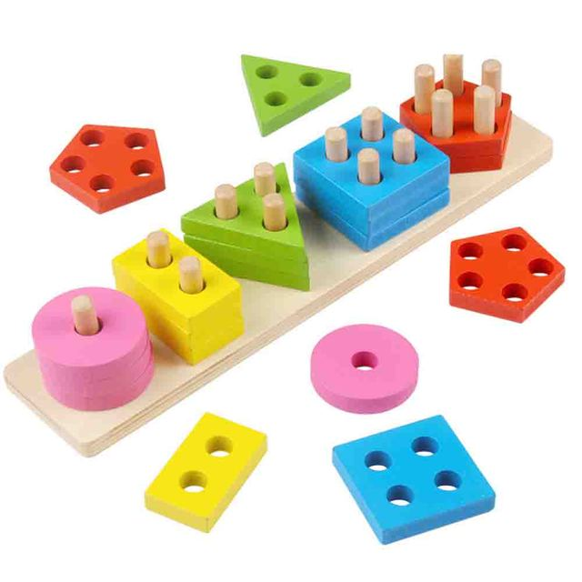 Wooden Montessori Math Learning Resources Baby's Educational Toys For Children Color Geometry Shape Stacker Sort Board building