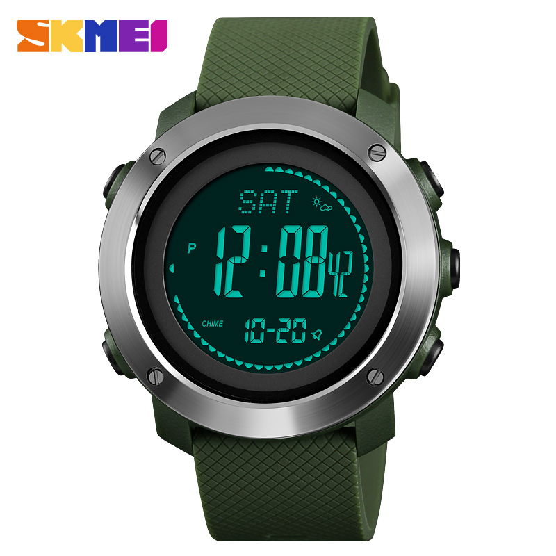 Skmei Brand Luxury Men's Sports Calories Watches Thermometer Weather Forecast LED Pedometer Compass Mileage Digital Watch