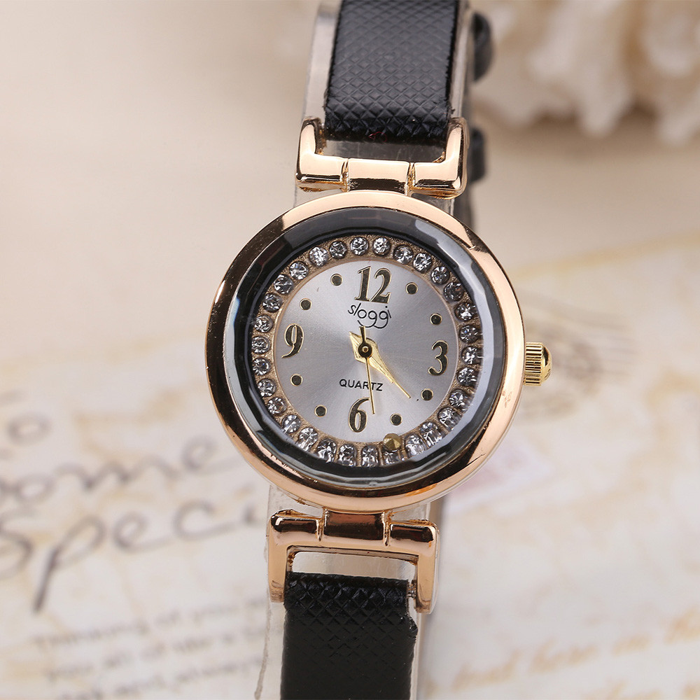 Watches Women Fine Leather Band Small Diamond Digital Dial Reloj Hombre Quartz Wrist Clocks Ladies Horloges Leather Hours B40