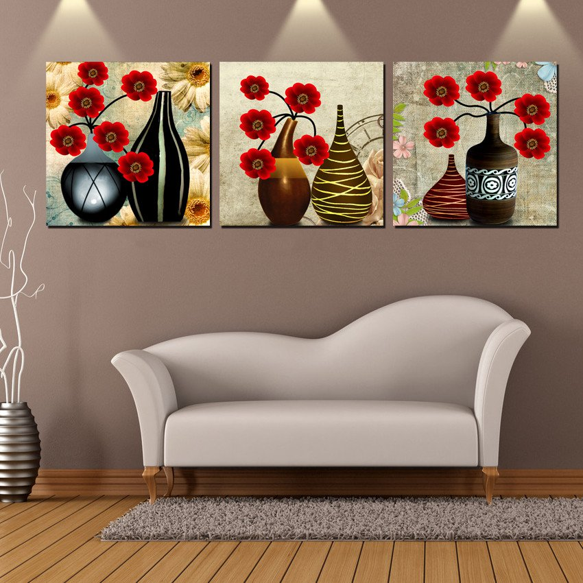 Wall decoration 3 pieces free shipping picture canvas for Abstract decoration