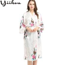 Female summer and autumn thin section silk pajamas women peacock pattern long home service bathrobe