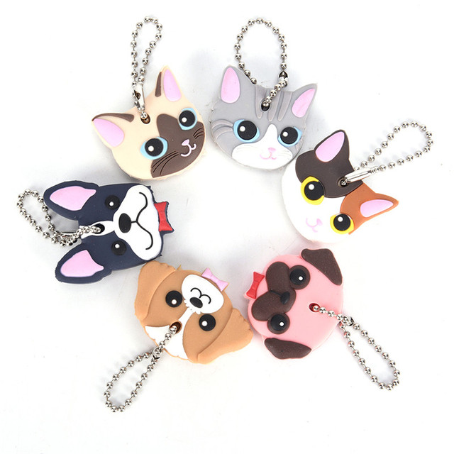 1 Pc Silicone Key Ring Cap Head Cover Keychain Case Shell Cat Hamster Shih Tzu Pug Dog Animals Shape Lovely Jewelry Gift 3