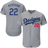 MLB Men S Los Angeles Dodgers Clayton Kershaw Majestic Gray Alternate Road Flex Base Authentic Collection