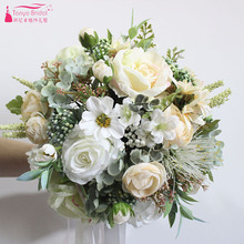 White Champagne Wedding Bouquet 2018 Bridal Handhold Flowers Fashion Country Artificial Decoration Flowers ZBH024