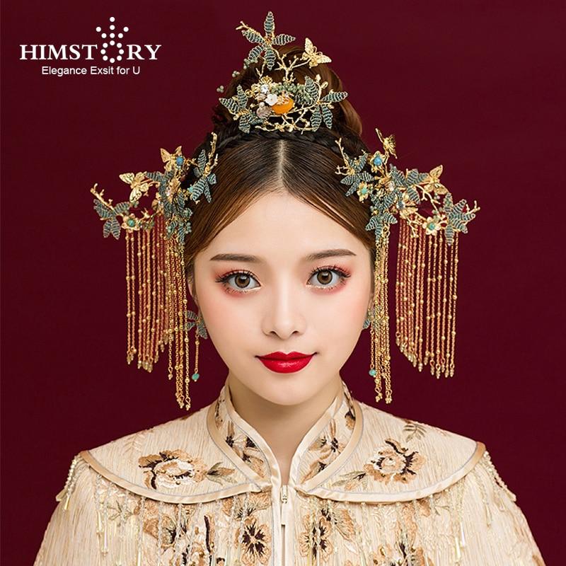 HIMSTORY Jewelry Headdress-Accessories Chinese-Traditional Tassel Flower Coronet Wedding-Hair
