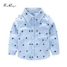Tem Doger/рубашки для маленьких мальчиков г. Летние рубашки для новорожденных мальчиков повседневные топы с длинными рукавами и принтом звезд, Одежда для младенцев, рубашки для малышей