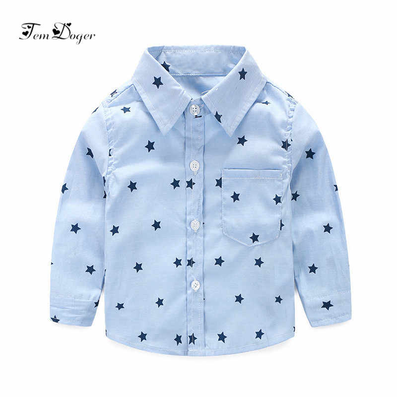 Tem Doger Baby Boy Shirts 2018 Summer Newborn Boys Shirts Stars Prints Casual Long Sleeve Tops Infant Clothing Shirts for Bebes