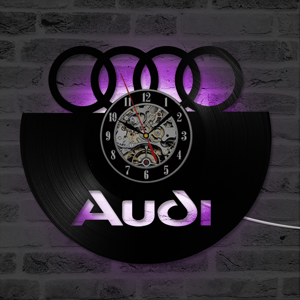 LED Record Vintage Decoration Black Hollow CD Record Wall Clock Audi Gift Art Decor Personalized Home Decor