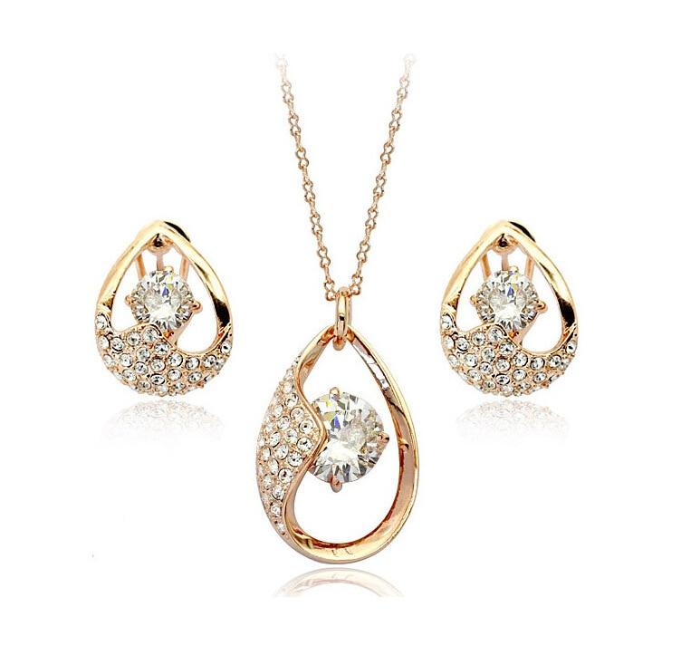 Fashion Jewelry Set Charm Drop zircon Jewelry sets / necklace + earrings Noble jewelry for women