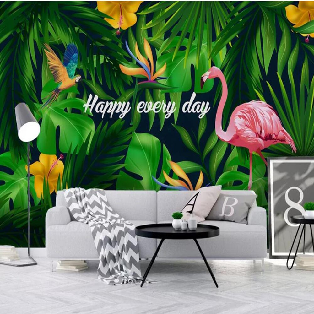 Tropical Flower Flamingo Wallpaper Wall Mural Wall Paper Rolls For