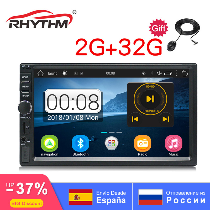 2din Android AutoRadio 2G RAM 32G ROM AutoRadio GPS Navigation QuadCore 7