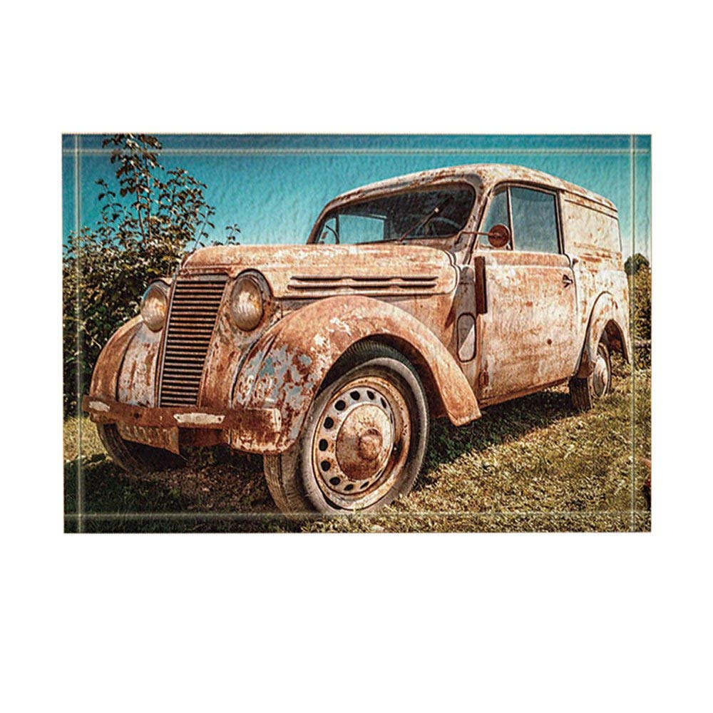 Old Cars Shower Decor Vintage Abandoned Cars On Farm Bath Rugs Non-Slip Doormat Floor EntrywaysDoor Mat