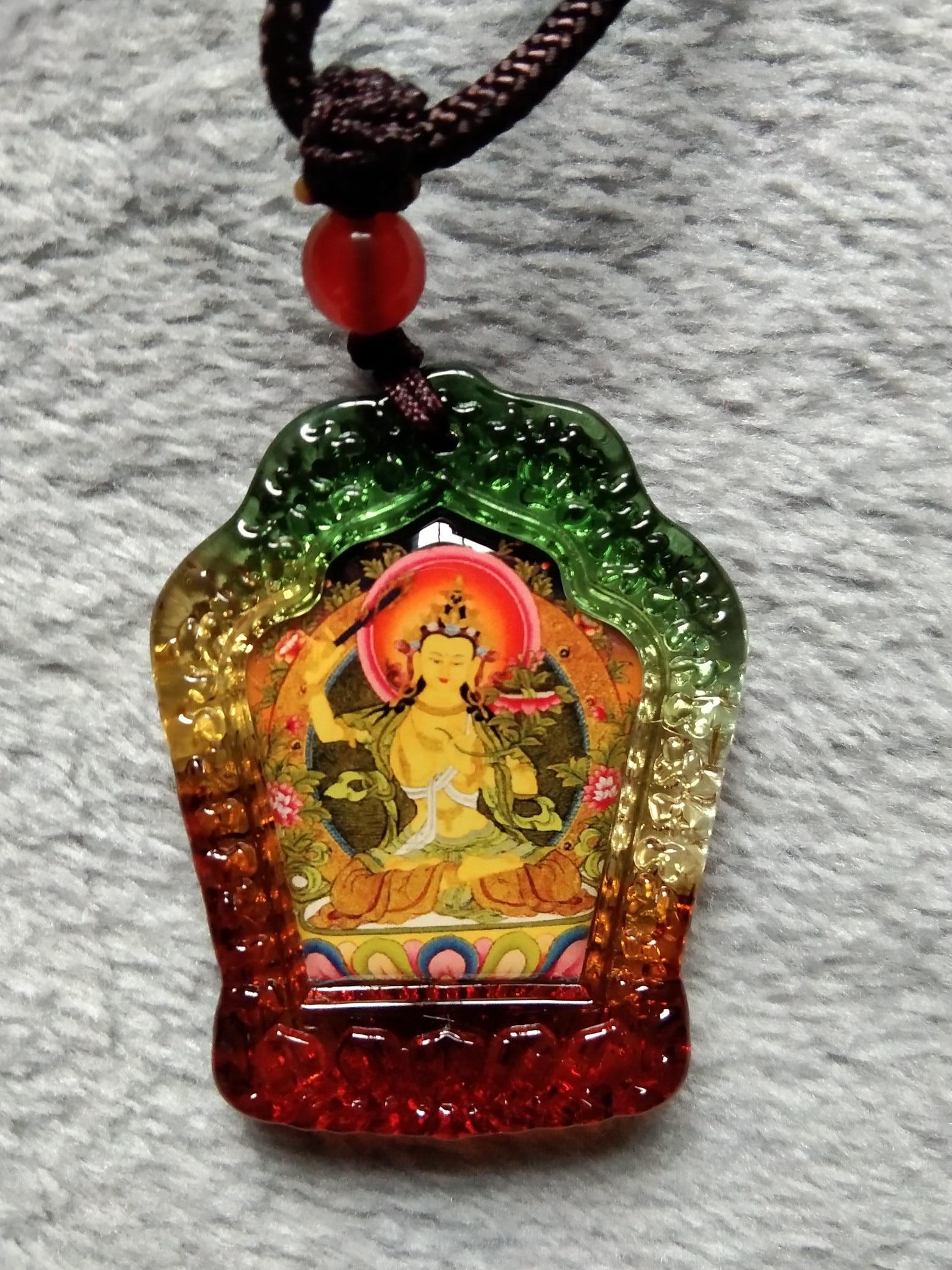 GOOD Buddhist Amulet Greco-Buddhist Pocket Travel Efficacious Mascot Auspicious The Bodhisattva Manjusri Buddha Crystal Pendant
