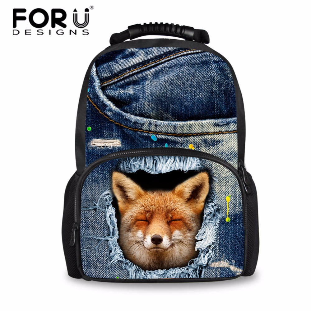 FORUDESIGNS Women Backpacks for Teen Girls Denim Fox Printed Bookbags Animal School Bag for Girls Stylish Back Pack Mochila stylish fox head shape embellished gold sunglasses for women