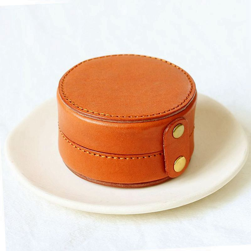 WOONAM Fully Handmade Top Hide of Genuine Cow Leather Cylindrical Jewelry Coin Case Purse Wallet