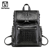 McParko Genuine Leather Crocodile Backpack Men alligator skin laptop back pack bag men bagpack Luxury Korean Style Hiphop Bags