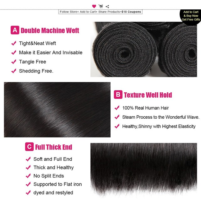 Straight Hair Bundles Remy Human Hair Weave