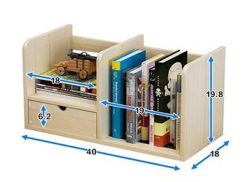 40*20*18CM Modern Desktop Bookshelf Office Storage Bookcase Student Desk Rack With Drawer