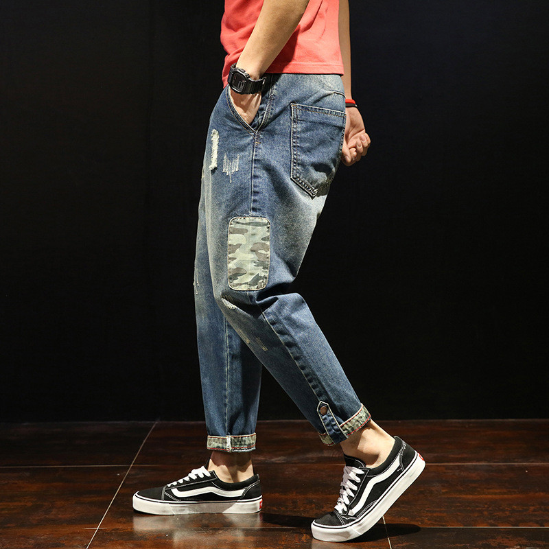 Fashion Patchwork Ripped Men's Jeans Boys Loose Casual Holes Ankle-Length Harem Pants Jeans Trousers Large Size 28-42