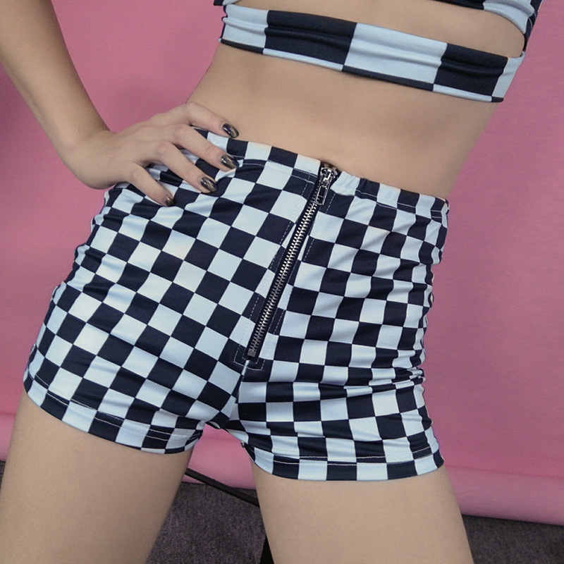 <font><b>Sexy</b></font> <font><b>Shorts</b></font> For Women Black White Chessboard Chain Zip Mini <font><b>Shorts</b></font> Casual Slim Club Wear <font><b>Shorts</b></font> For Female image