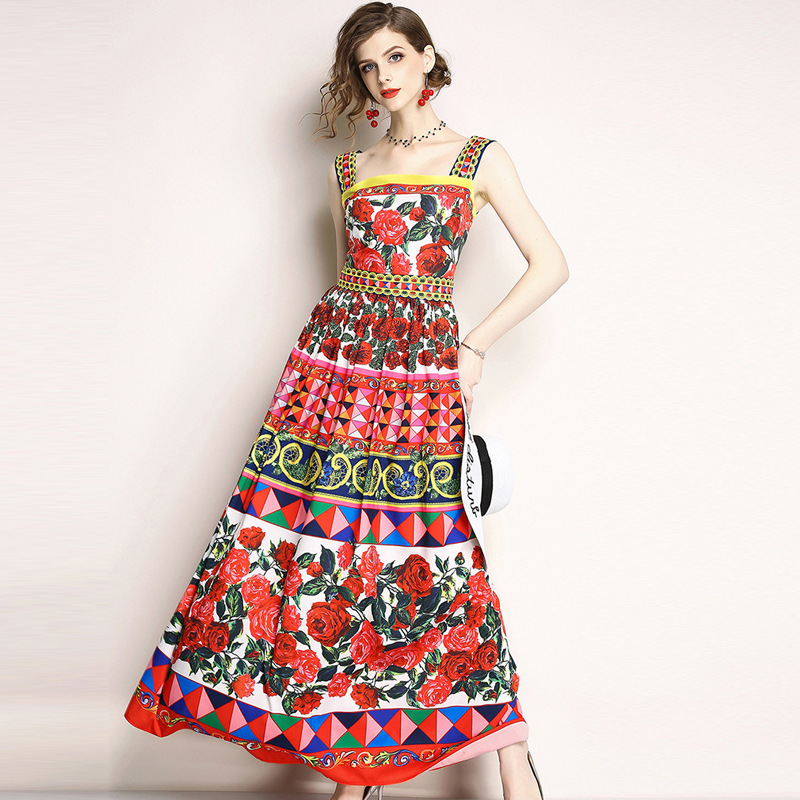 PADEGAO 2019 Fashionable Womens Summer New Product Printed Suspender Sexy Backless Dresses Temperament Elegant Long