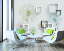 beibehang Personality Three-dimensional Interior Wall paper Simple Fashion Dandelion 3D Square Frame TV Background 3d wallpaper