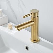 Badkamer Kraan Massief Messing Badkamer Wastafel Kraan Koud En Warm Water Mixer Sink Tap Enkele Handgreep Badrandcombinaties Geborsteld Goud tap