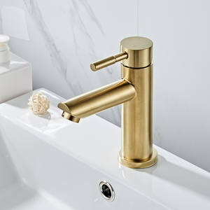 Bathroom Faucet Solid Brass Bathroom Basin Faucet Cold And Hot Water Mixer Sink Tap Single Handle Deck Mounted Brushed Gold Tap