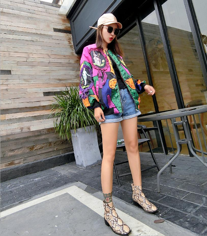 L822 Printing Plus 2018 New Jacket Loose Autumn Size Picture Beauty Personality Outwear Abstract Fashion Spring Patchwork Womens Pattern pwaH5Sxaq