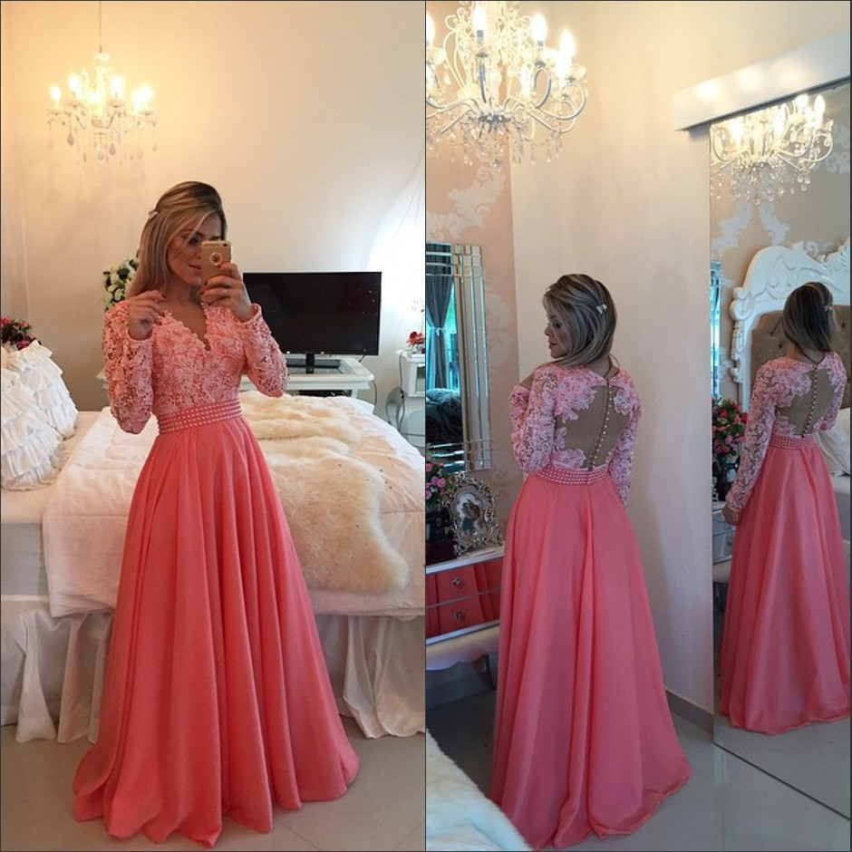 Custom 2018 V Neck Elegant Lace Applique Pearls Sexy Red Prom Long Sleeves Formal Evening Party Gown Mother Of The Bride Dresses