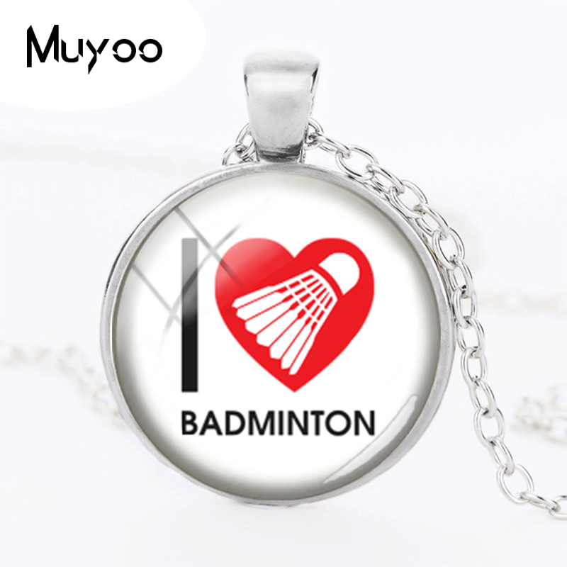 2018 New Glass Photo Cabochon Necklace I Love Badminton Pendant Silver Link Chain Handmade Necklaces Round Jewelry HZ1
